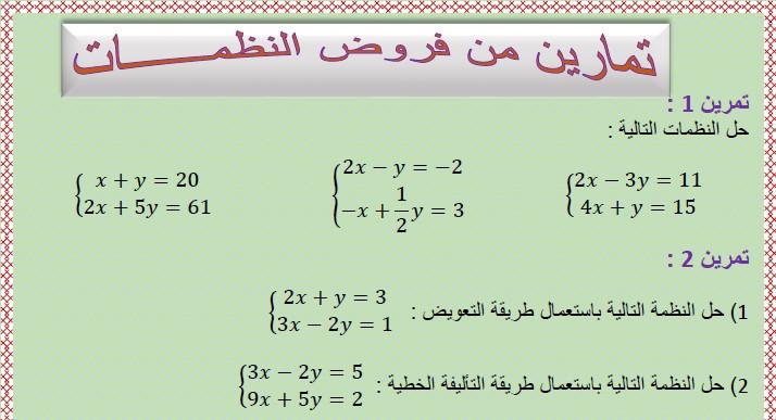 تمارين من فروض معادلة مستقيم للسنة الثالثة إعدادي الدورة (system of two equations) الثانية مع التصحيح