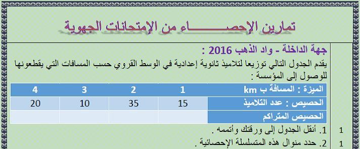 تمارين الرياضيات مع التصحيح للإحصاء(statistics) من الإمتحانات الجهوية