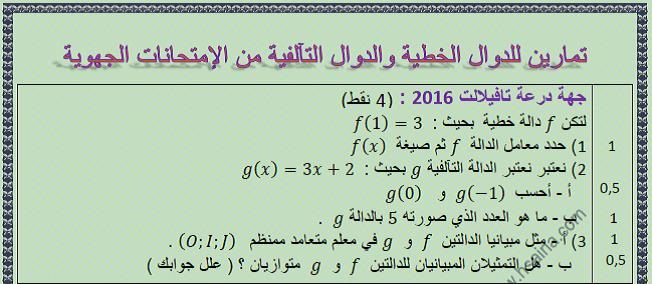 تمارين الرياضيات للدالة الخطية والدالة التآلفية من الإمتحانات الجهوية للسنة الثالثة إعدادي مع التصحيح
