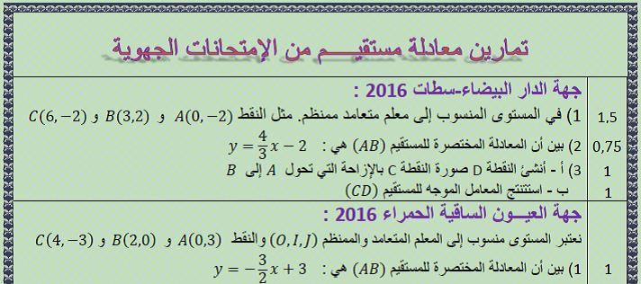 تمارين الرياضيات لمعادلة مستقيم مع التصحيح من الإمتحانات الجهوية 2016