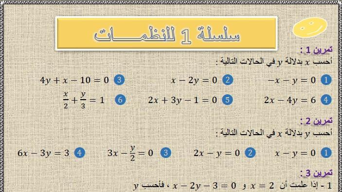 تمارين وحلول السلسلة 1 للنظمات(system of two equations) في مادة الرياضيات  لتلاميذ السنة الثالثة إعدادي الدورة 2