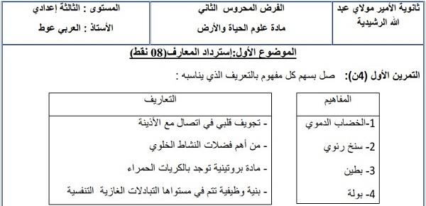 فرض محروس رقم 1 لعلوم الحياة والأرض للثالثة إعدادي الدورة 1 النموذج (1) مع التصحيح