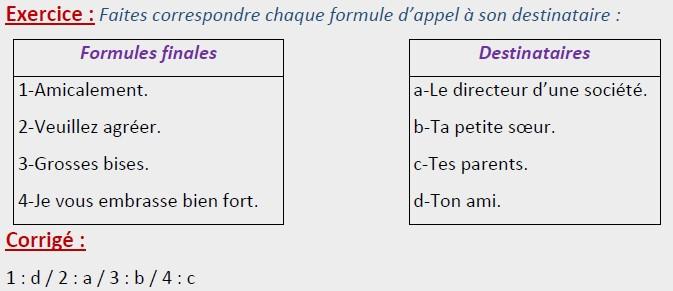 la lettre personnelle :exercice formule d'appel et formule finale